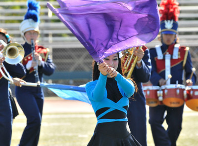 Granada Hills High hosted the 28th annual Highlander Field Show Competition among area prep marching bands. Schools large and small throughout the Southland competed in what looked like the worlds longes half time show. Granada Hills, CA.11-13-2010. (John McCoy/staff photographer)