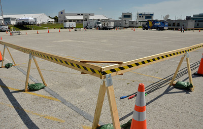 Barriers are set up for the estimated  2,500 plus media have start to arrive with only 3 days left to cover the last space shuttle launch of Atlantis that is set for July 8th at Kennedy Space Center. FL. July 5,2011. Photo by Gene Blevins/LA Daily News