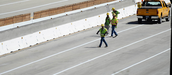 Work crews finish 17 hours ahead of schedule as the 405 freeway was reopen  around 11:30am this morning.   Los Angeles CA  July 17,2011. Photo by Gene Blevins/LA Daily News