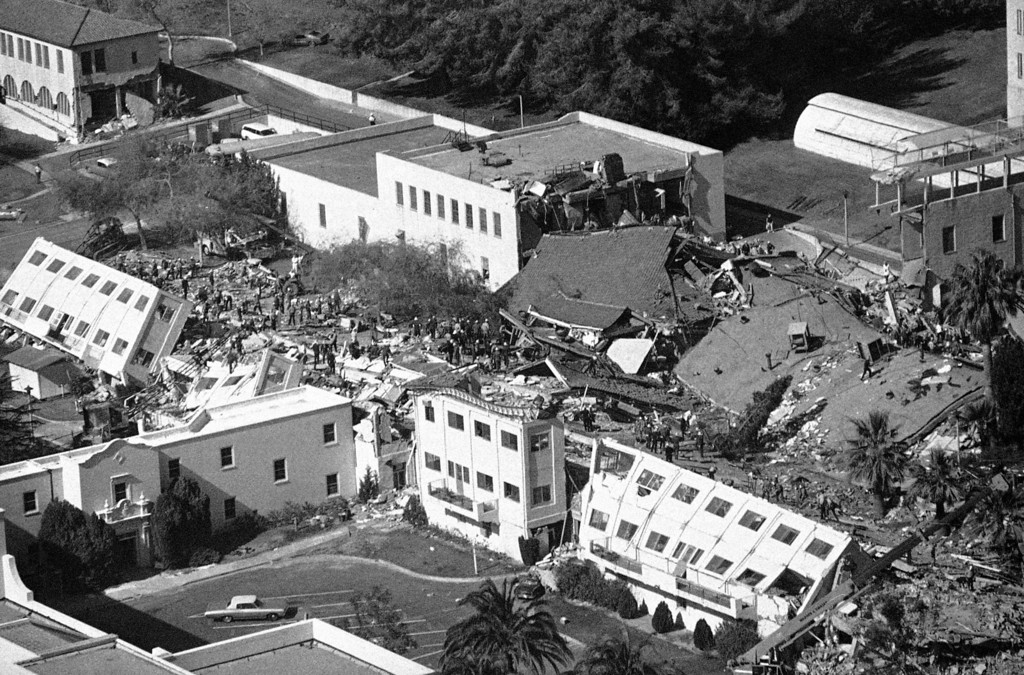 . Major portions of the Veterans Administration hospital in Sylmar lie in ruins following southern California earthquake in Los Angeles on Feb. 9, 1971. At least seven persons perished as buildings collapsed and authorities said another 54 were missing. (AP Photo/Wally Fong)