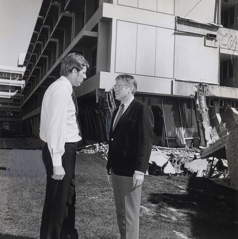 . The 1971 San Fernando earthquake (also known as Sylmar earthquake) struck the San Fernando Valley near Sylmar at 6:00:55 a.m. PST on February 9, 1971, with a magnitude of 6.6.  Senator John Tunney and Congressman James Corman discuss the damage at Olive View hospital on Feb. 11, 1971. There are various names for this earthquake. Seismologists call it the San Fernando earthquake. USGS \'Sylmar Quake\' or \'Sylmar earthquake\' is the name initially given to the event by local media outlets, because the worst damage was to the Olive View Medical Center, located in Sylmar. Local veterans of \'the Sylmar Quake\' commonly refer to this seismic event as the \'February Ninth\' quake. (Daily News File Photos.)