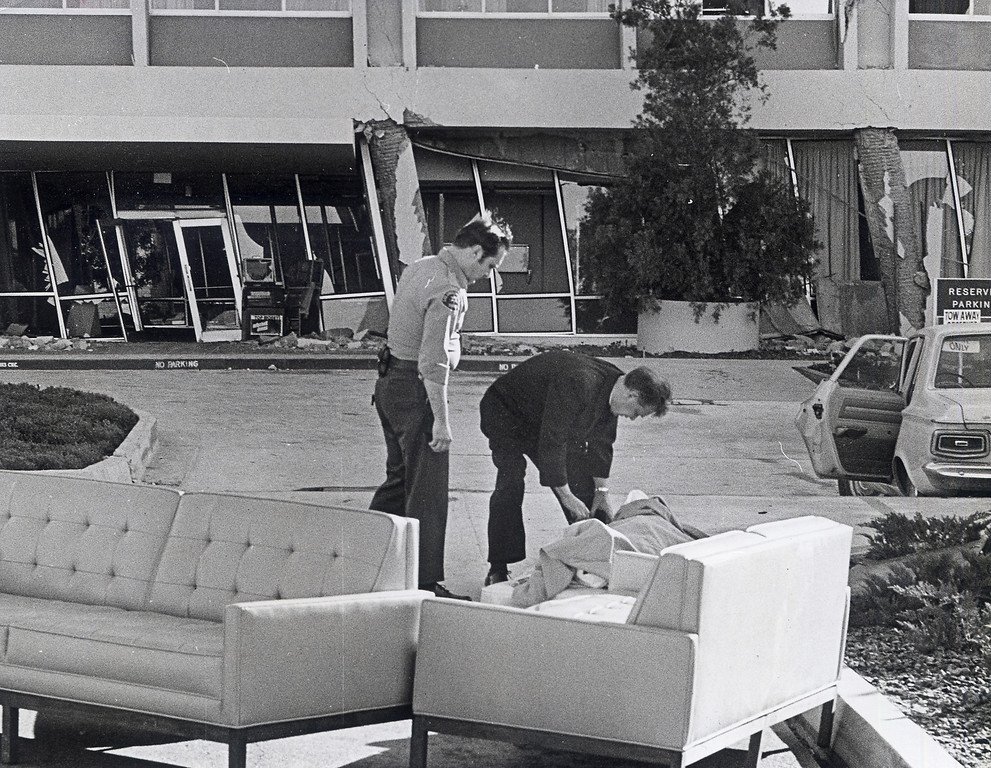 . The 1971 San Fernando earthquake (also known as Sylmar earthquake) struck the San Fernando Valley near Sylmar at 6:00:55 a.m. PST on February 9, 1971, with a magnitude of 6.6.  A sheriff\'s deputy watches as a priest administers last rights to a victim killed in the quake at Olive View Medical Center. There are various names for this earthquake. Seismologists call it the San Fernando earthquake. USGS \'Sylmar Quake\' or \'Sylmar earthquake\' is the name initially given to the event by local media outlets, because the worst damage was to the Olive View Medical Center, located in Sylmar. Local veterans of \'the Sylmar Quake\' commonly refer to this seismic event as the \'February Ninth\' quake. (Daily News File Photos.)