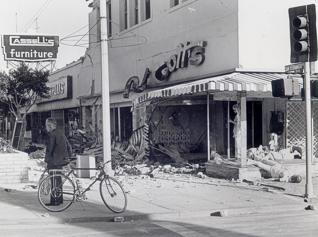 . The 1971 San Fernando earthquake (also known as Sylmar earthquake) struck the San Fernando Valley near Sylmar at 6:00:55 a.m. PST on February 9, 1971, with a magnitude of 6.6.  Businesses were severly damaged in the 1100 block of San Fernando Road. There are various names for this earthquake. Seismologists call it the San Fernando earthquake. USGS \'Sylmar Quake\' or \'Sylmar earthquake\' is the name initially given to the event by local media outlets, because the worst damage was to the Olive View Medical Center, located in Sylmar. Local veterans of \'the Sylmar Quake\' commonly refer to this seismic event as the \'February Ninth\' quake. (Daily News File Photos.)