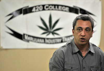 George Boyadijian speaks to the class. Boyadijian, the president and founder of 420 College is holding a two day seminar at the Burbank Holiday Inn. Boyadijian, and attorney William McPike are teaching students how to get into the Marijuana business by opening a collective to distrubute what they, and many others, consider to be a natural form of medication. Glendale, CA 4-16-2011. (John McCoy/staff photographer)