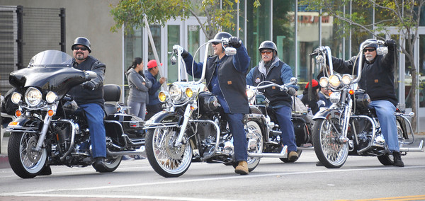 The Chicano Harley Davidson bikers make their way through the streets during the 43rd Annual Pacoima Christmas Parade and Festival. Dec 4 ,2010. Photo by Gene Blevins/LA Daily News