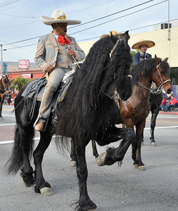 Horse riders make their way through the streets during the 43rd Annual Pacoima Christmas Parade and Festival. Dec 4 ,2010. Photo by Gene Blevins/LA Daily News
