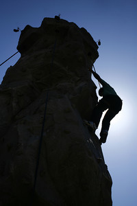 13-year-old Dwayne Johnson from Panorama City succeeds in climbing to the top of the wall during the 4th Annual Deafest held at Woodley Park in Van Nuys, CA. September 16, 2007.  (Ernesto Elizarraraz, Special to the Daily News)