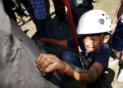 5-year-old Antonio Alonso from Long Beach, attempts to climb the wall for the fourth time during the 4th Annual Deafest held at Woodley Park in Van Nuys, CA. September 16, 2007.  (Ernesto Elizarraraz, Special to the Daily News)