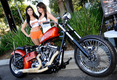 The Hooters girls pose fpr photos during the 4th Annual West Valley Memorial Motorcycle Ride benefiting the Randal D. Simmons Outreach Foundation, Los Angeles Police Memorial Foundation and the West Valley B.O.O.S.T.E.R.S. Reseda CA. Aug 27,2011 photo by Gene Blevins/LA DailyNews
