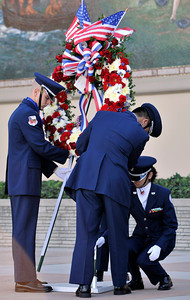 Forest lawn Hollywood Hills held their 51st annual Veterans Day ceremony. Highlights of the event included the Golden Stars Skydiving Team, the Blue Eagles Total Force Honor Guard from March Air Reserve Base, Air Force Junior ROTC  from Crescenta Valley High School, and Veterans from wars that included WWII, Korea, Vietnam, up to current day conflicts in Afghanistan. Burbank CA.11-11-2010. (John McCoy/staff photographer)