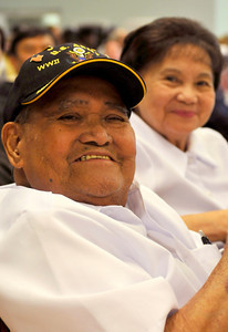 """WWII and Korean War Veteran and POW Simplicio """"Sam"""" Ochoa, 90, and his wife Marcaria,86, enjoy the festivities. The 60th Anniversary of the Korean Conflict was observed at the Sepulveda Ambulatory Care Center, located in the VA Hospital Campus in North Hills. The event , sponsored by the Korean Minister Association in the San FErnando Valley, and the VA Greater Los Angeles Healthcare System, featured Korean flavored foods and entertainment. North Hills, CA 06/23/2010 (John McCoy/Staff Photographer)"""