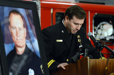 Chaplain Rick Godinez speaks during a candlelight vigil at station 78 in Studio City for Los Angeles firefighter Glenn Allen, 61, who died of injuries suffered while battling a house fire in the Hollywood Hills. (Hans Gutknecht/Staff Photographer)