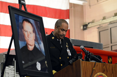 LAFD Chief Millage Peaks speaks during a candlelight vigil at station 78 in Studio City for Los Angeles firefighter Glenn Allen, 61, who died of injuries suffered while battling a house fire in the Hollywood Hills. (Hans Gutknecht/Staff Photographer)