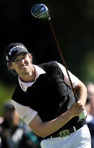 Aaron Baddeley on the 2nd tee during the final round of the Northern Trust Open at Riviera Country Club in Pacific Palisades , CA. 2-20-2011. (John McCoy/staff photographer)