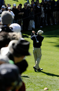 Fred Couples tees off on #5 during the final round of the Northern Trust Open at Riviera Country Club in Pacific Palisades , CA. 2-20-2011. (John McCoy/staff photographer)