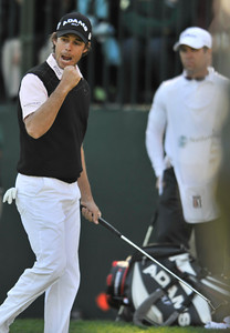 Aaron Baddeley pumps his fist after making birdie on 13. Baddeley won the Northern Trust Open at Riviera Country Club in Pacific Palisades, CA. 2-20-2011. (John McCoy/staff photographer)