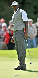 Vijay Singh looks down at a put that would not fall on the 1st green. Singh had to settle for birdie on the hole during the final round of the Northern Trust Open at Riviera Country Club in Pacific Palisades , CA. 2-20-2011. (John McCoy/staff photographer)