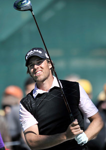 Aaron Baddeley on the 3rd tee during the final round of the Northern Trust Open at Riviera Country Club in Pacific Palisades , CA. 2-20-2011. (John McCoy/staff photographer)