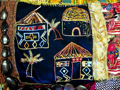 A detail of Leora Raikin's quilt.  Leora Raikin teaches African Folklore embroidery classes at Summer Art Academy, Art Camp in Agoura Hills, CA.   Students learn about beading and stitching as they learn about African wildlife and tribal arts.  (Dean Musgrove/Staff Photographer)