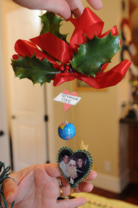 This is the first picture ornament that Taunalyn Rutherford made in 1985. Rutherford's home will be featured in the Wellness Center's 20th annual Holiday Home Tour. She and her family have been collecting ornaments that feature pictures of their family. Agoura Hills, CA 11/25/2011(John McCoy/Staff Photographer)
