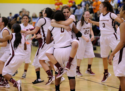 Alemany celebrates after they defeated Chaminade 48 to 46 in a battle for the Mission League title. Mission Hills, CA 2/7/2012(John McCoy/Staff Photographer)