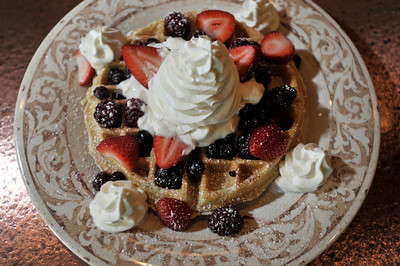 Another Broken Egg Cafe serves a Belgian Waffles that is loaded with fruit. The restaurant features a primarily breakfast and lunch menu. Burbank, CA. 8-18-2011. (John McCoy/Staff Photographer)