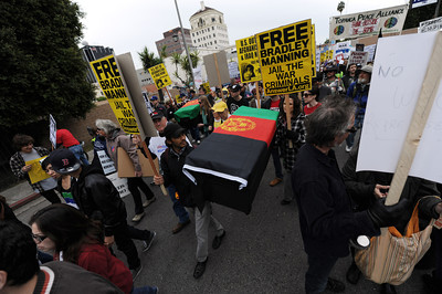 Protestors march through the streets during a anti-war march and rally  in Hollywood March 19, 2011. (Hans Gutknecht/Staff Photographer)