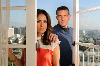 "Antonio Banderas and Salma Hayek will join each other again as they voice characters in the soon to be released animated film ""Puss in Boots."" Photographed at the Four Seasons Hotel in Beverly Hills, CA. 10/21/2011(John McCoy/Staff Photographer)"