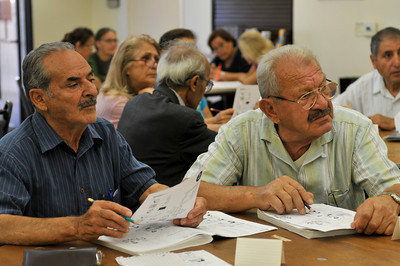 (l-r) Gourgen Kasparian and Martik Aieapetyan,both 74, take an English language class. The Armenian Relief Society is celebrating its centennial this year. Glendale, CA 9/16/2010 (John McCoy/staff photographer)