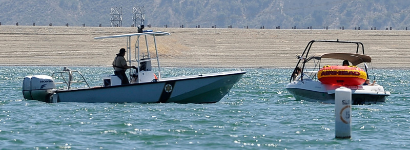 LA county Sheriff's Sgt. Roger Wallace checks out boaters on Castaic Lake during Operation Dry Water by conducting traffic stops and B.U.I. sobriety check points.  Castaic Lake CA. June 26,2011. Photo by Gene Blevins/LA Daily News