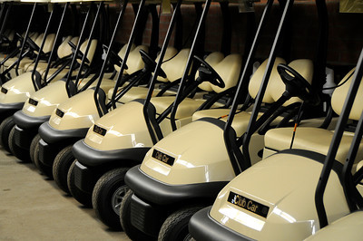 New carts are lined up, charged up, and ready to go in the cart barn. The City of Los Angeles just purchased new golf carts for several courses including the Encino Balboa Golf Complex. Encino, CA 6-24-2011. (John McCoy/Staff Photographer)