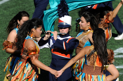 The annual LAUSD Band and Drill Team Championship competition was held at East Los Angeles College. The competition featured an estimated 2,500 high school students representing 30 schools. The groups were evaluated on their visual ad musical performance. Monterey Park CA 12/10/2011(John McCoy/Staff Photographer)