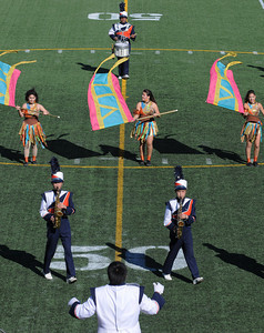 The Chatsworth Marching Band takes to the field under the direction of Drum Major Anthony Cerrato. The annual LAUSD Band and Drill Team Championship competition was held at East Los Angeles College. The competition featured an estimated 2,500 high school students representing 30 schools. The groups were evaluated on their visual ad musical performance. Monterey Park CA 12/10/2011(John McCoy/Staff Photographer)