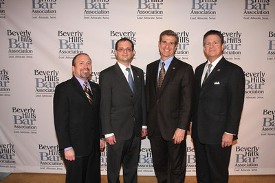 John Rubiner, 1st VP-BHBA, Stephen L. Raucher, President, BHBA, Jonathan A. Stein, Dinner Chair and Chair BHBA Litigation Section, and Marc R. Staenberg, BHBA Exec Director.  The Beverly Hills Bar Association (BHBA), expanding on its tradition of championing access to justice, an independent judiciary and the Rule of Law, honored two titans of the legal community at its inaugural ÒBeverly Hills Bar Association Litigation Section Dinner,Ó on Wednesday, February 2, 2011, at Montage Beverly Hills. More than 300 legal glitterati turned out to salute recently-retired California Supreme Court Chief Justice Ronald M. George, considered one of the most effective judicial administrators in the stateÕs history, and renowned trial lawyer Roman M. Silberfeld, widely respected for his groundbreaking work on a range of complex litigation cases, including the recent entertainment case Celador International Ltd. v. The Walt Disney Company, for which he obtained a verdict for a record amount of $319 million.  Lee Salem Photography