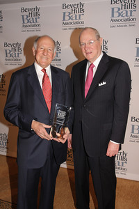 Former Calif.  Chief Justice Ronald George with Associate Justice of the Supreme Court Anthony Kennedy.  The Beverly Hills Bar Association (BHBA), expanding on its tradition of championing access to justice, an independent judiciary and the Rule of Law, honored two titans of the legal community at its inaugural ÒBeverly Hills Bar Association Litigation Section Dinner,Ó on Wednesday, February 2, 2011, at Montage Beverly Hills. More than 300 legal glitterati turned out to salute recently-retired California Supreme Court Chief Justice Ronald M. George, considered one of the most effective judicial administrators in the stateÕs history, and renowned trial lawyer Roman M. Silberfeld, widely respected for his groundbreaking work on a range of complex litigation cases, including the recent entertainment case Celador International Ltd. v. The Walt Disney Company, for which he obtained a verdict for a record amount of $319 million.  Lee Salem Photography