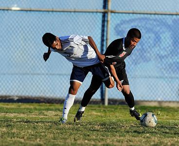 Birmingham vs. Cleveland in  Raider Cup boys' soccer tournament action. (Hans Gutknecht/Staff Photographer)
