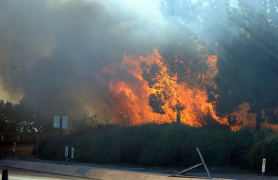A fire burns along the NB 405 freeway at the Devonshire exit in Mission Hills.  The fire started on the southbound side and soon jumped to the northbound side of the freeway causing both on and off ramps to be closed. It took 80 firefighters over a hour to knock down the flames.  (Hans Gutknecht/Staff Photographer)