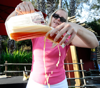 Elizabeth Murray of the Inland Empire brewing company pours the beer during the annual  Brew at the Zoo, as over 2000 beer lovers came out to sample 20 different kinds of brews makers beers at the LA zoo. Los Angeles. CA. Aug 12,2011 photo by Gene Blevins/LA DAILY NEWS
