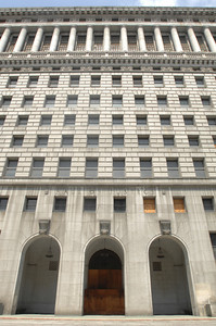 Front entry at the Hall of Justice. The county will begin work on a $231 million renovation to the Hall of Justice, which has been vacant since the 1994 Northridge Earthquake. The historic Beaux Arts building was built in 1925. Los Angeles, CA. 8-10-2011. (John McCoy/Staff Photographer)