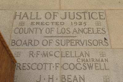 This is seen carved into the stone next to the entrace at the Hall of Justice. The county will begin work on a $231 million renovation to the Hall of Justice, which has been vacant since the 1994 Northridge Earthquake. The historic Beaux Arts building was built in 1925. Los Angeles, CA. 8-10-2011. (John McCoy/Staff Photographer)