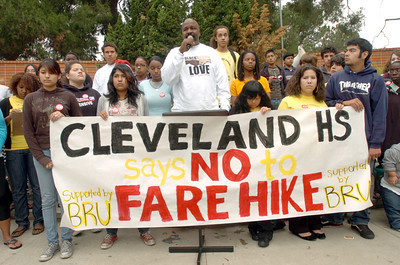 At Cleveland High School in Reseda, Ca., teacher Fluke Fluker speaks about the proposed fare hike by the MTA   during a rally on Monday, May 21, 2007.  (Tina Burch/STaff Photographer)