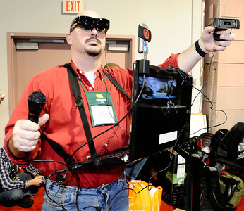 Scott Liberto of the Compute-Ability show streams live from his laptop during the 3rd day of the 2011 International CES. Las Vegas NV. Jan 8,2011. Photo by Gene Blevins/LA Daily news