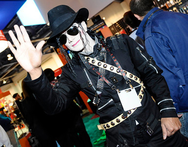 Michael Jackson impersonator during the 3rd day of the 2011 International CES. Las Vegas NV. Jan 8,2011. Photo by Gene Blevins/LA Daily news
