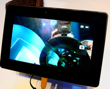 Blackberry displays their Playbook tablet during the 3rd day of the 2011 International CES. Las Vegas NV. Jan 8,2011. Photo by Gene Blevins/LA Daily news