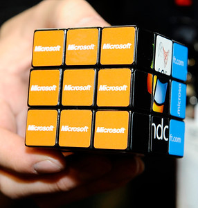 Microsoft cube during the 3rd day of the 2011 International CES. Las Vegas NV. Jan 8,2011. Photo by Gene Blevins/LA Daily news