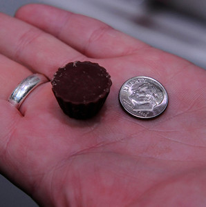 Anne Lingeris of the Hershey's company shows the new reese's peanut butter cup minis, as the company  gave out over 100,000 free samples bags to CES attendees during the 4 days show. Las Vegas NV. Jan 8,2011. Photo by Gene Blevins/LA Daily News