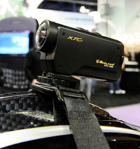 Midland displays their new XTC video camera during the 3rd day of the 2011 International CES. Las Vegas NV. Jan 8,2011. Photo by Gene Blevins/LA Daily news