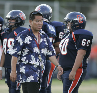 Chatsworth Head Coach Rick Hayashida with his players before the game on Thursday, September 20, 2007 agaisnt Chaminade High School. (Edna T. Simpson)