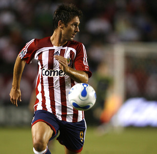 Chivas Ante Razov looks toward the goal  post before making the first goal of the game during the first half on Thursday, September 13, 2007 at Home Depot Center. (Edna T. Simpson)