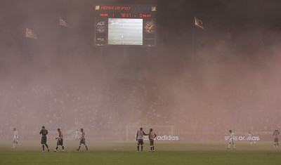 Chivas vs Galaxy in the second half a  delay of game due to fans throwing smoke bombs on the field. (Edna T. Simpson)